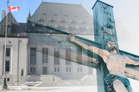 Canada courthouse blending into a crucifix