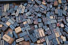 Jumbled-up letterpress letters